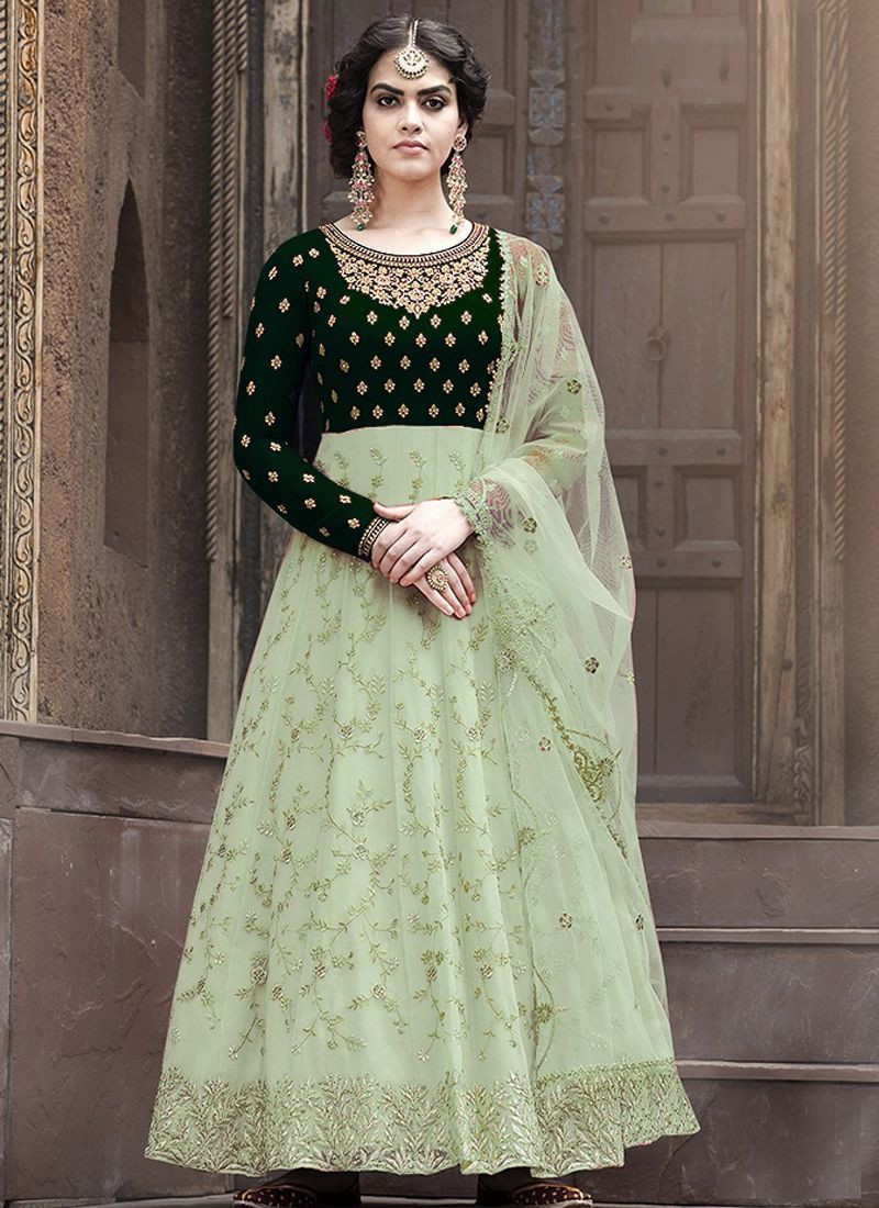 Green Partywear Embroidered Anarkali Salwar Suit