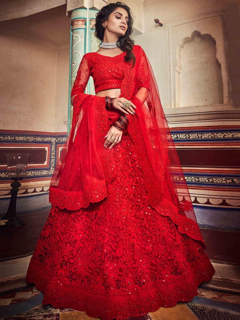 Red Wedding Wear Embroidered Lehenga Choli