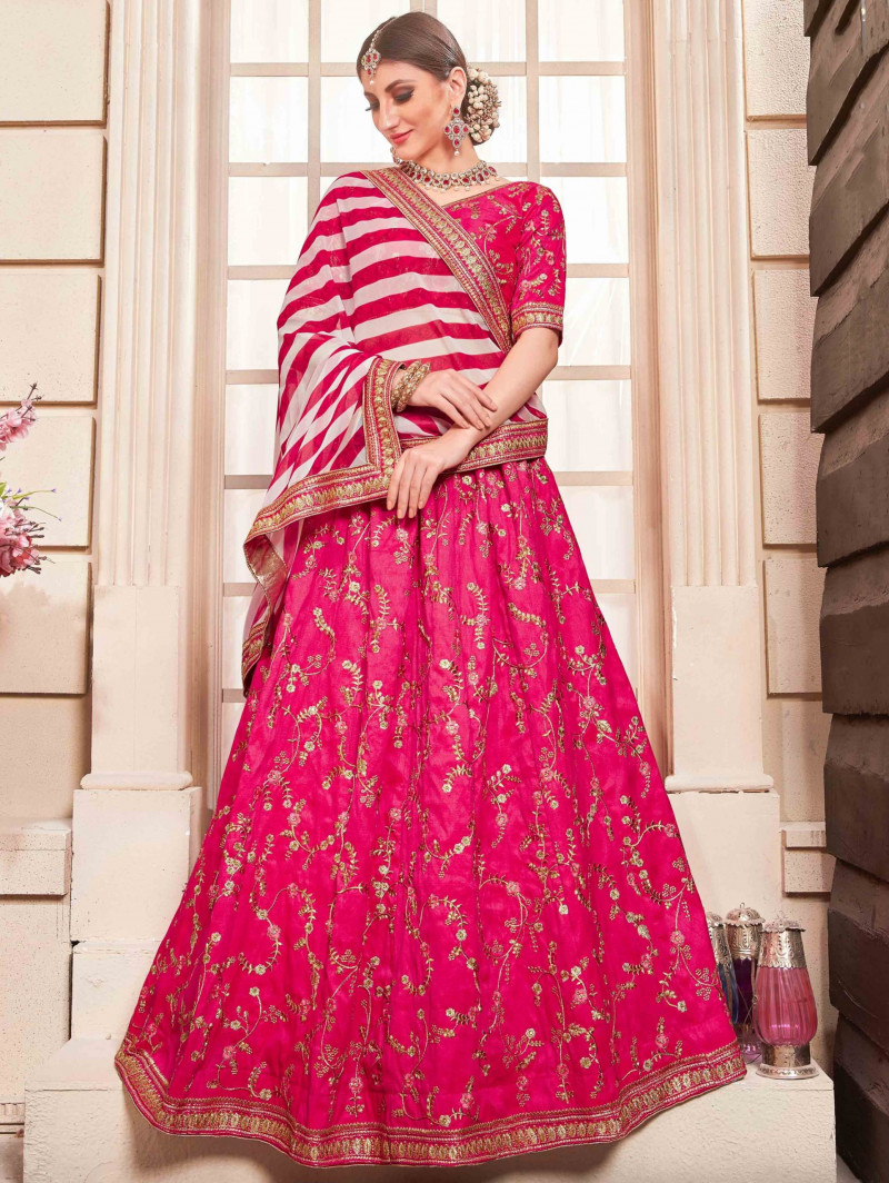 Pink embroidered wedding lehenga with Georgette Dupatta