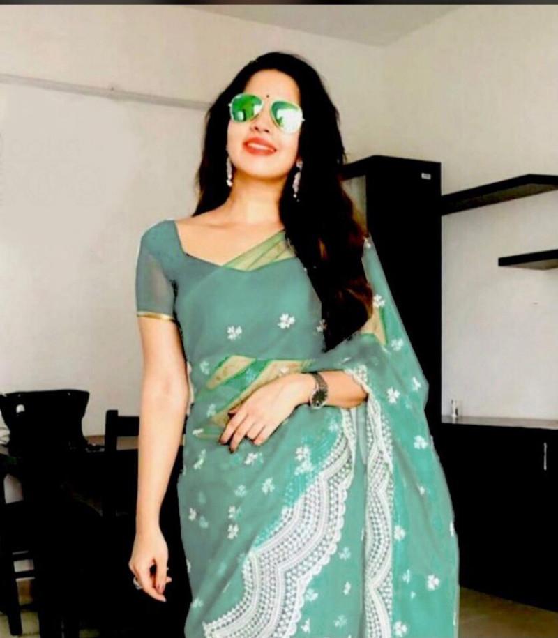 Mint Green Designer Partywear Net Saree