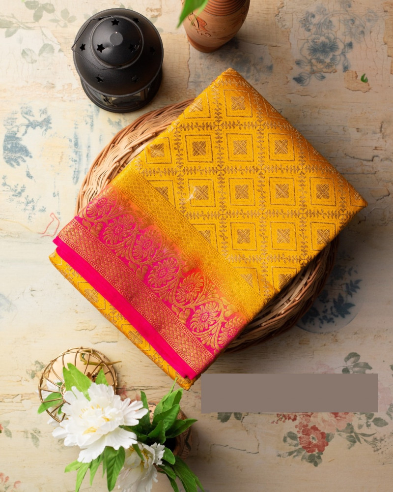 Mustard Yellow Kanjivaram Saree
