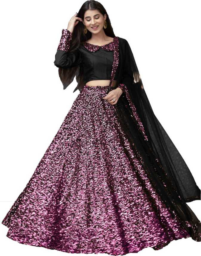 Purple-Black Sequence Embroidered Lehenga Choli