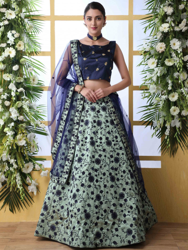 Mint Green Lehenga With Navy Blue Choli
