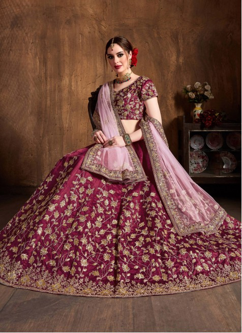 Ruby Pink Embroidered Wedding Wear Lehenga