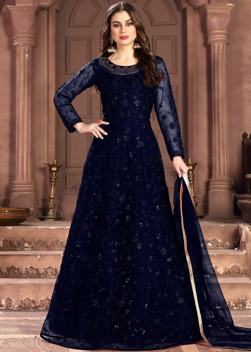 Navy Blue Designer Embroidered Anarkali Suit
