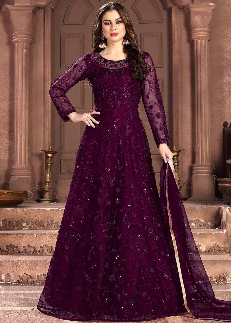 Purple Designer Embroidered Anarkali Suit