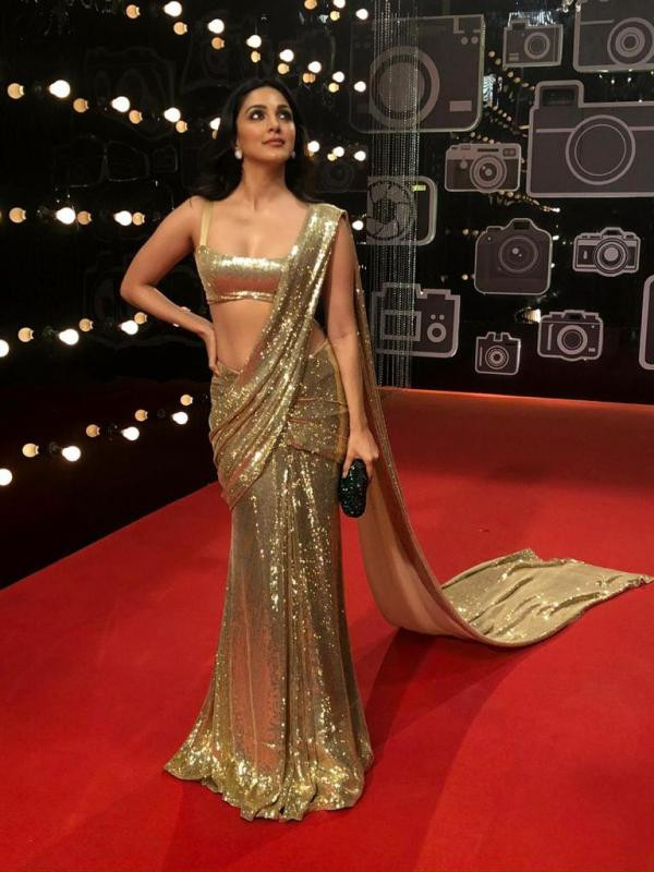 Bollywood Style Partywear Beige Saree