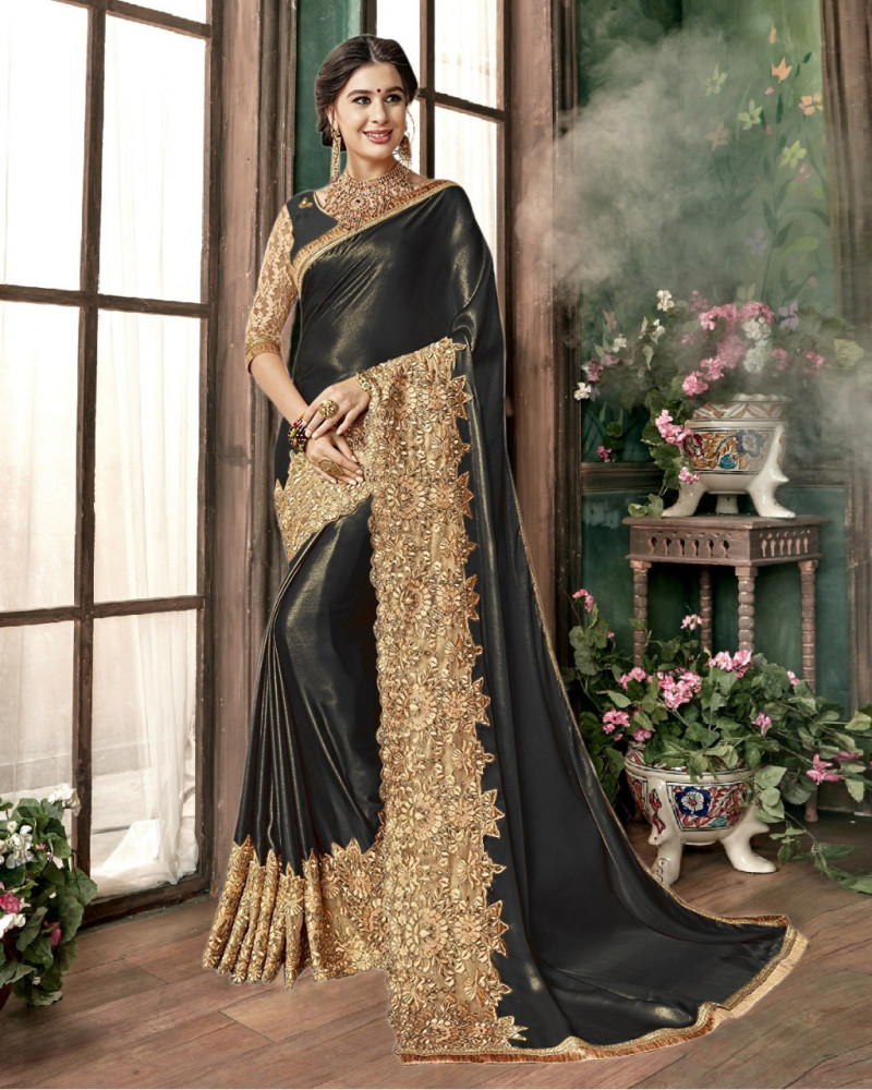 Wedding Wear Embroidered Black Silk Saree