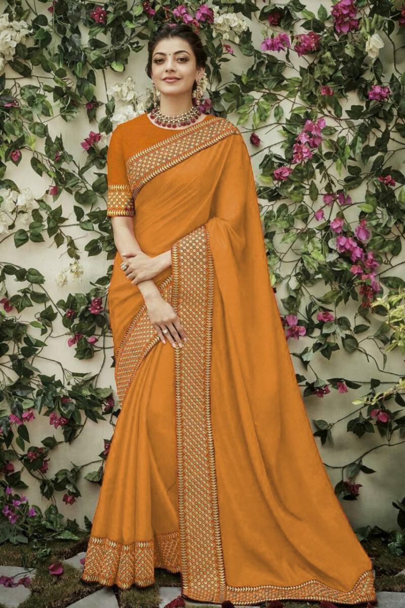 Mustard Yellow Designer Silk Saree
