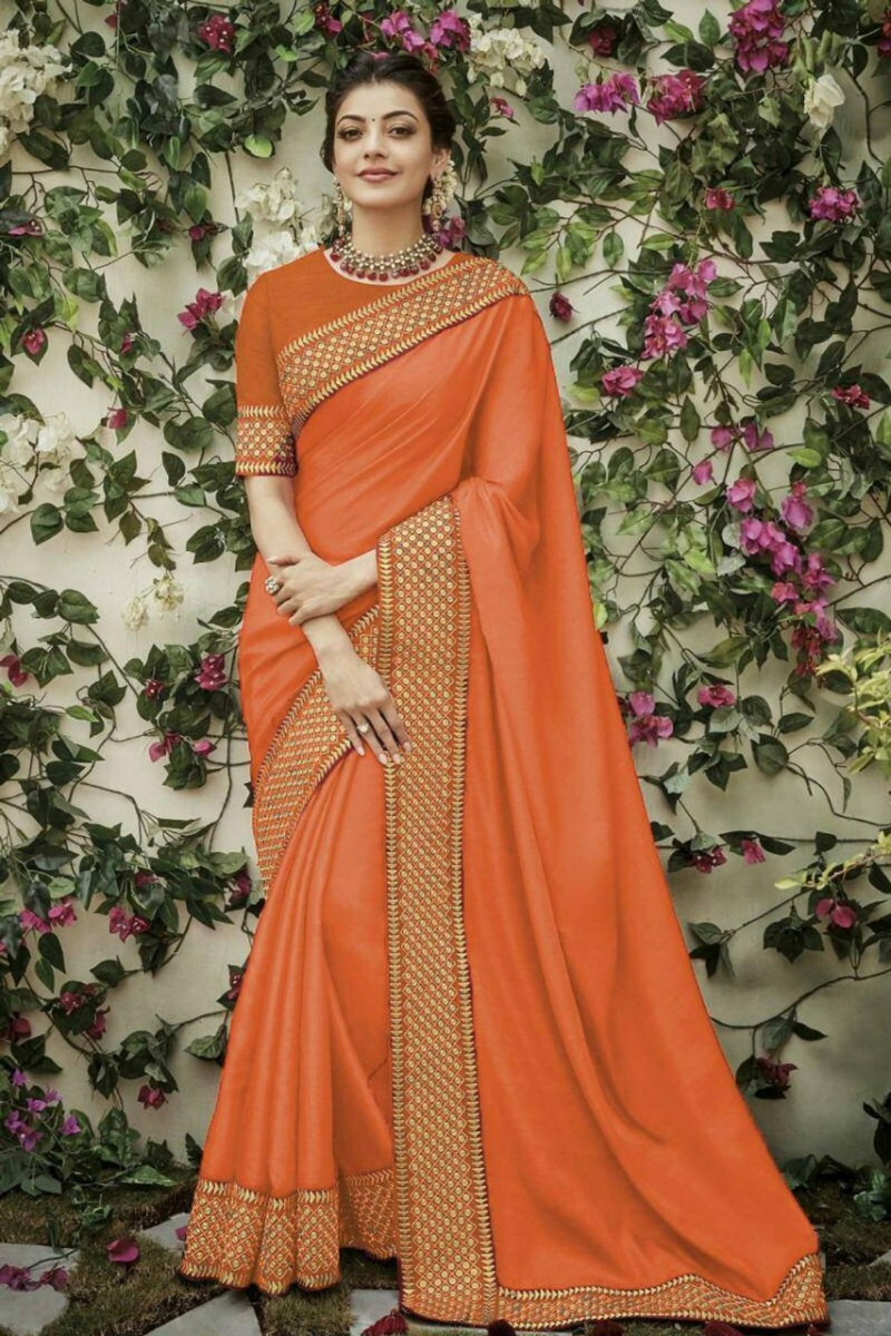 Bollywood Partywear Orange Saree