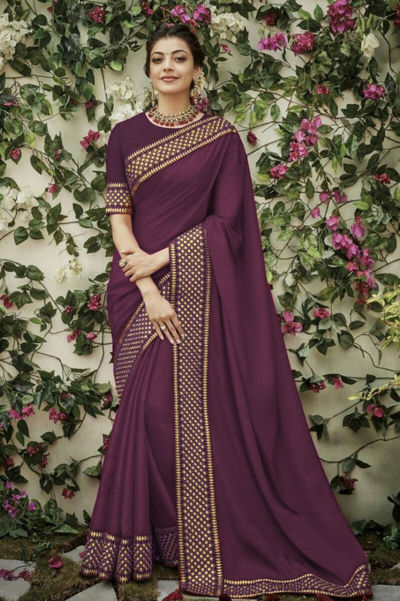 Purple Partywear Designer Saree