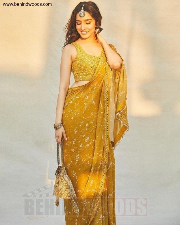 Mustard Yellow Embroidered Bollywood Style Saree