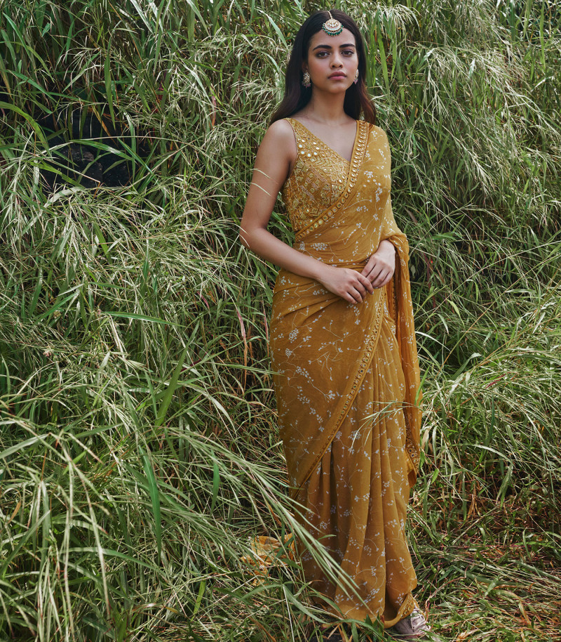 Mustard Yellow Designer Saree