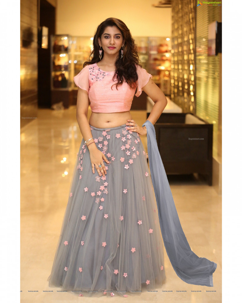 Grey-Pink Embroidered Lehenga Choli