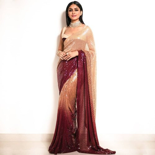Three Shade Maroon-Peach Partywear Saree