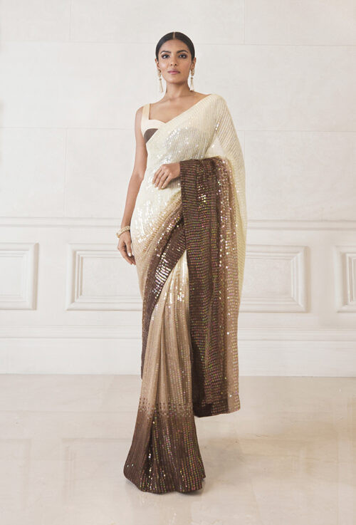 Two Shade Coffee color Partywear Saree