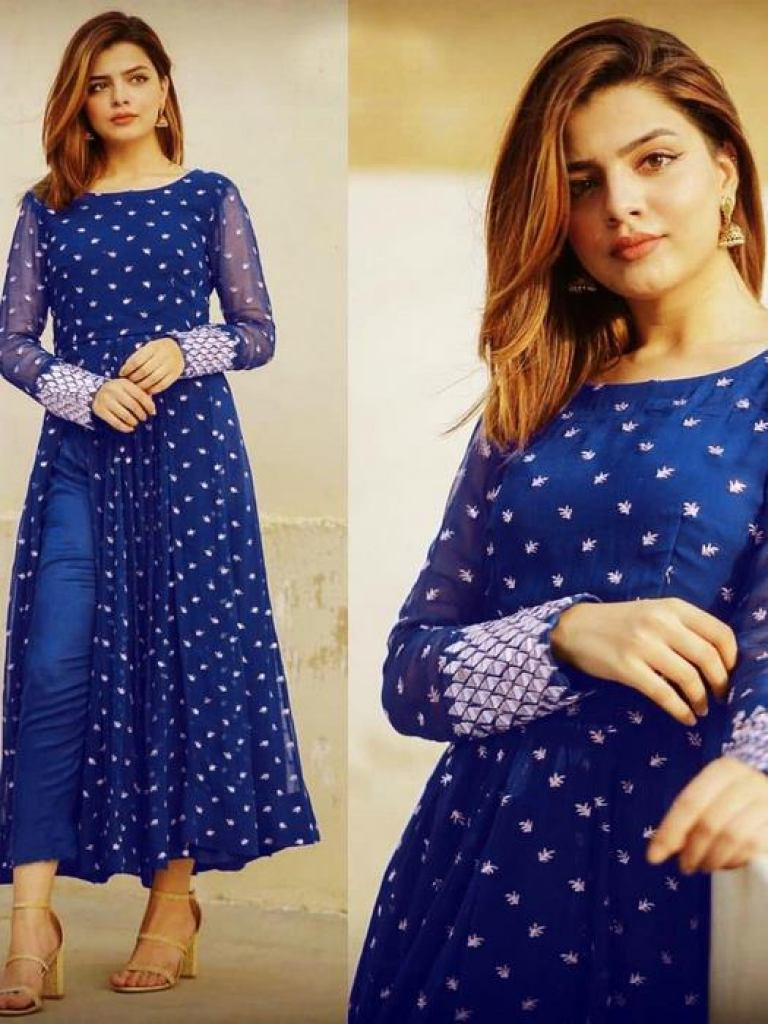 Blue Embroidered Festival Wear Dress