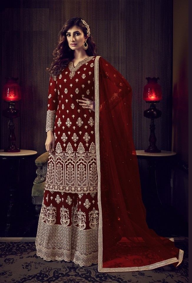 Heavy Embroidered Red Wedding Wear Palazzo Suit
