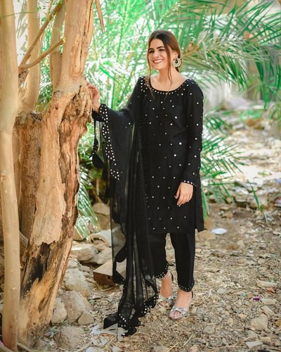 Black Embroidered Kurti Pant Set