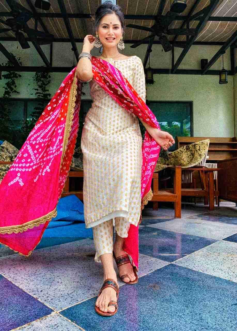 Beige Kurti Pant Set With Pink Bandhani Dupatta