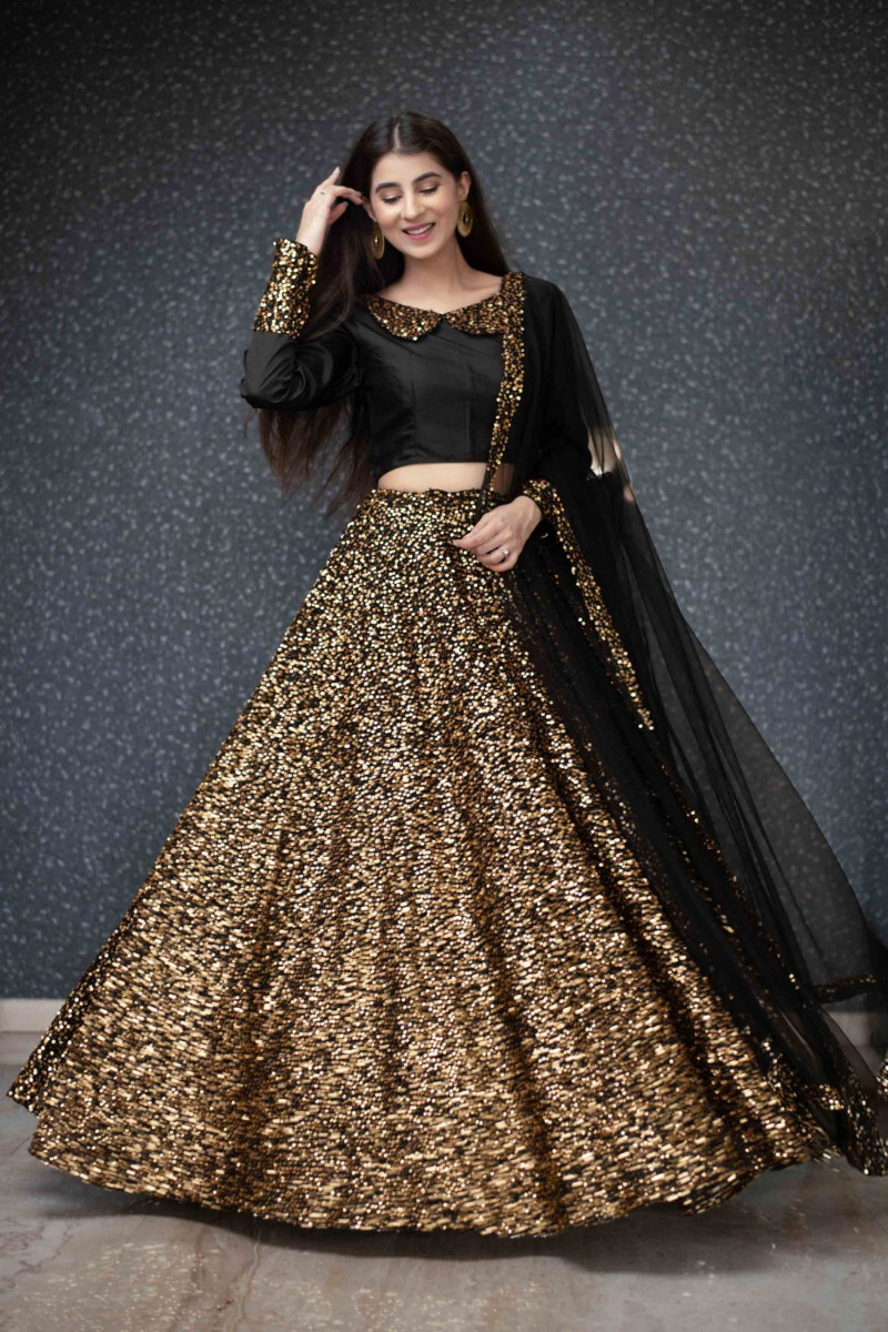 Beige Sequence Embroidered Lehenga Choli