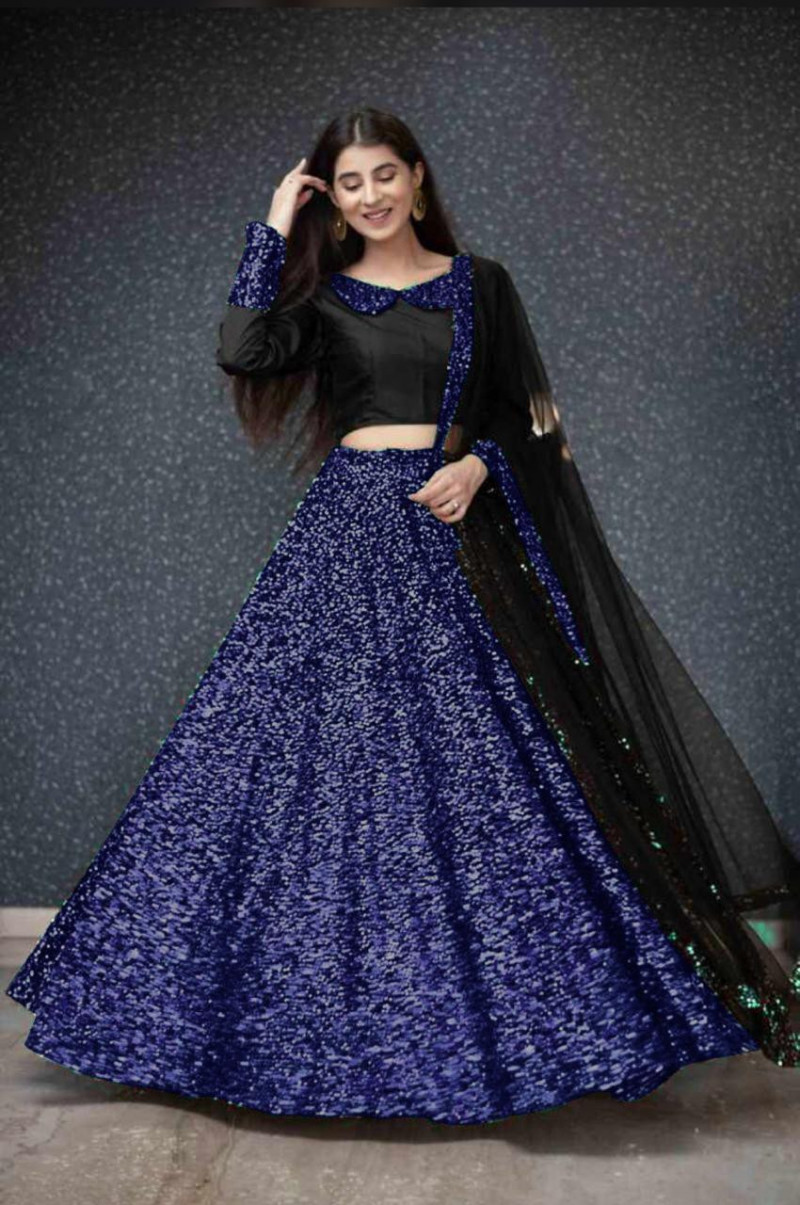 Royal Blue Sequence Embroidered Lehenga Choli