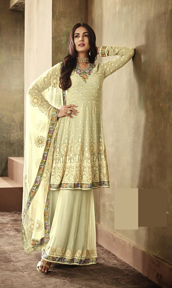 Yellow Wedding Wear Georgette Palazzo Dress