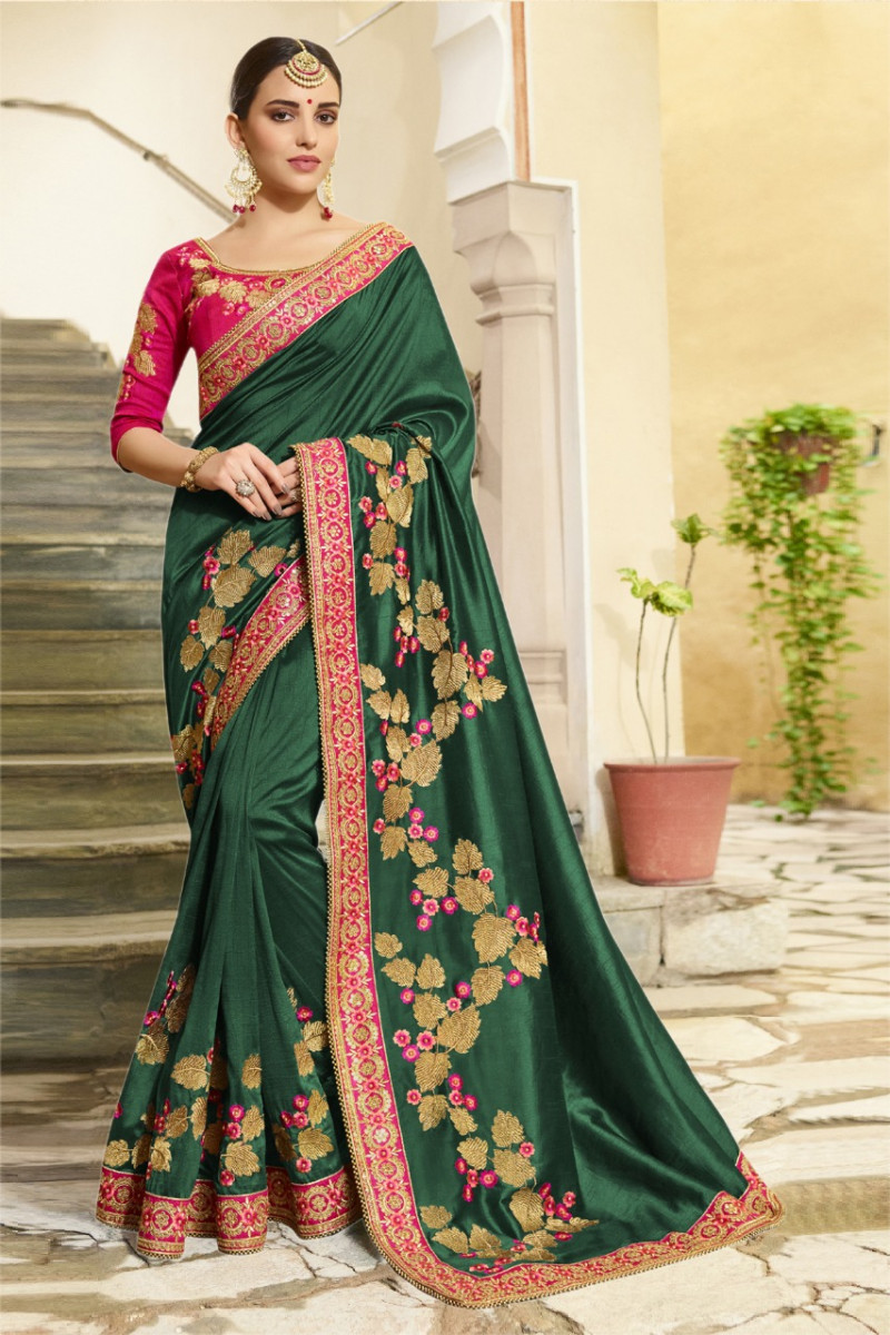 Dark Green Wedding Wear Silk Saree