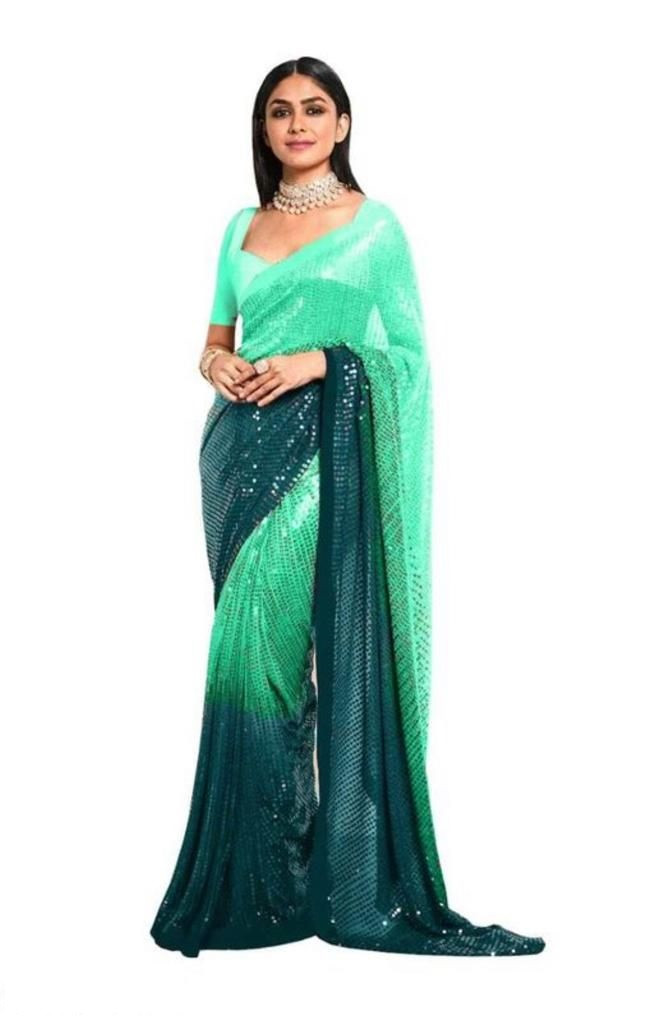 Two Shade Green Partywear Georgette Saree
