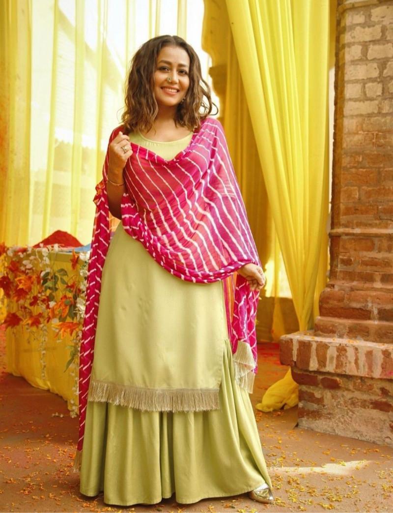Lime Green Sharara Dress With Pink Dupatta