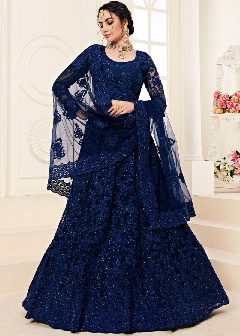 Dark Blue Wedding Wear Lehenga Choli