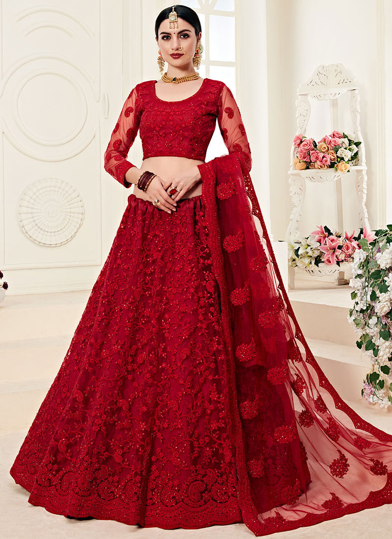 Wedding Wear Red Heavily Embroidered Lehenga