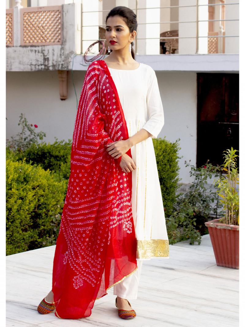 Festival Wear White Kurti Pant Set With Red Dupatta