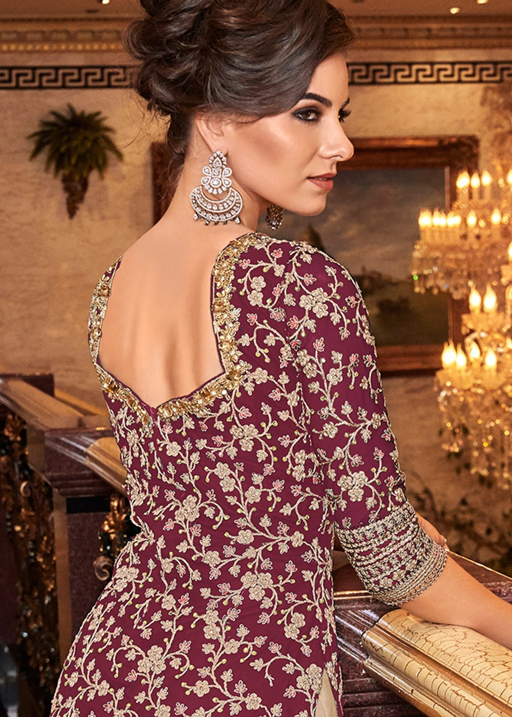 Heavily Embroidered Pink-Beige Sharara Dress
