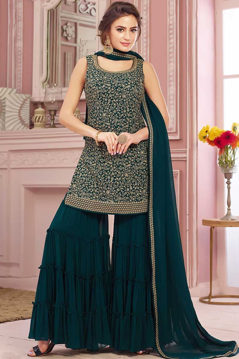 Dark Green Heavily Embroidered Sharara Suit