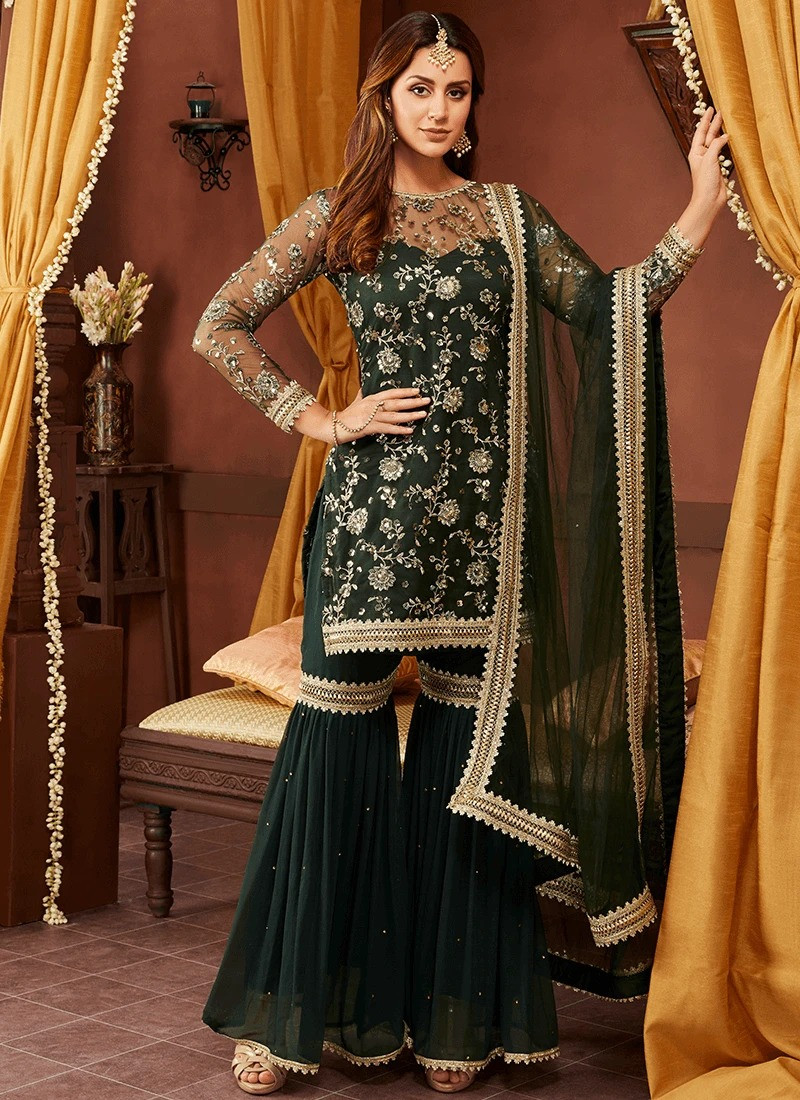 Dark Green Heavy Wedding Wear Sharara Suit