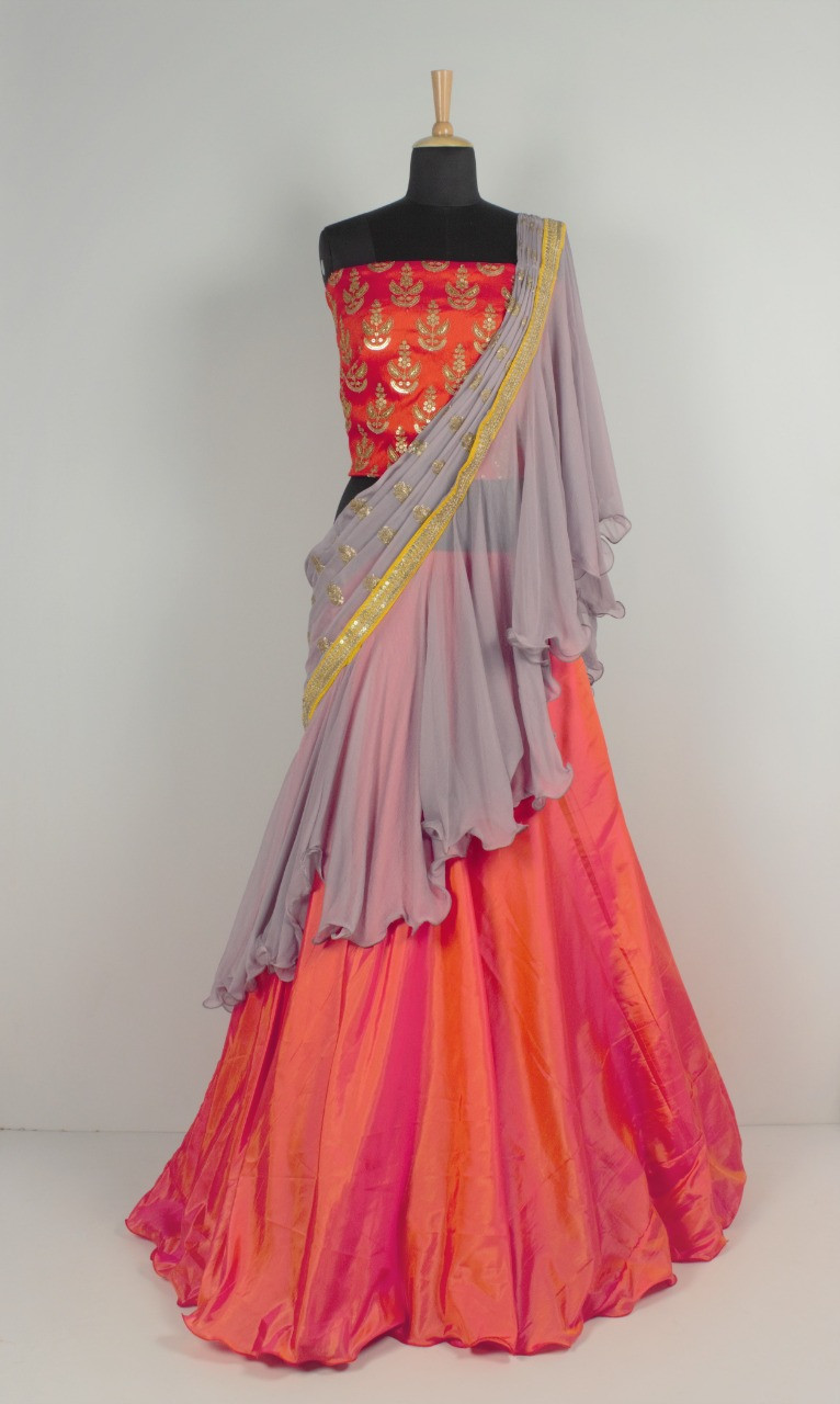 Orange Satin Silk Lehenga With Freel Dupatta