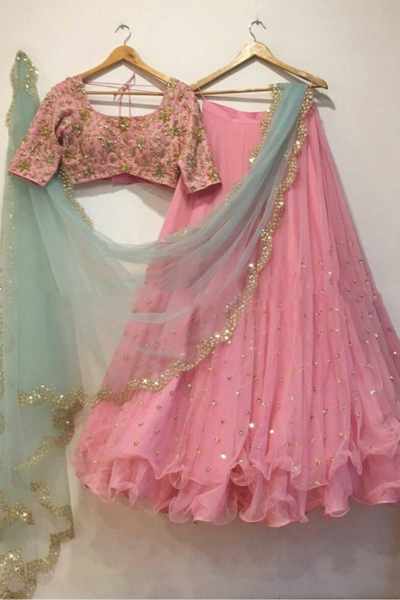 Pink Wedding Wear Lehenga With Green Dupatta