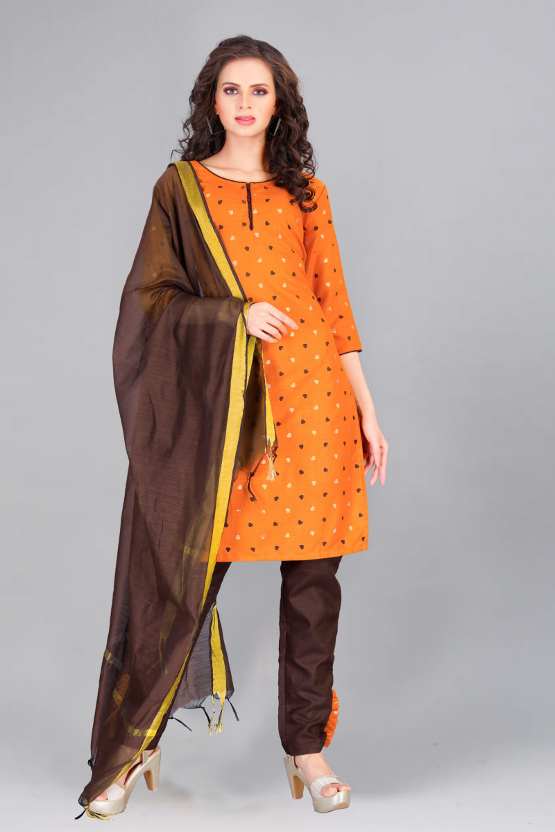Ochre Yellow-Brown Kurti Palazzo With Dupatta