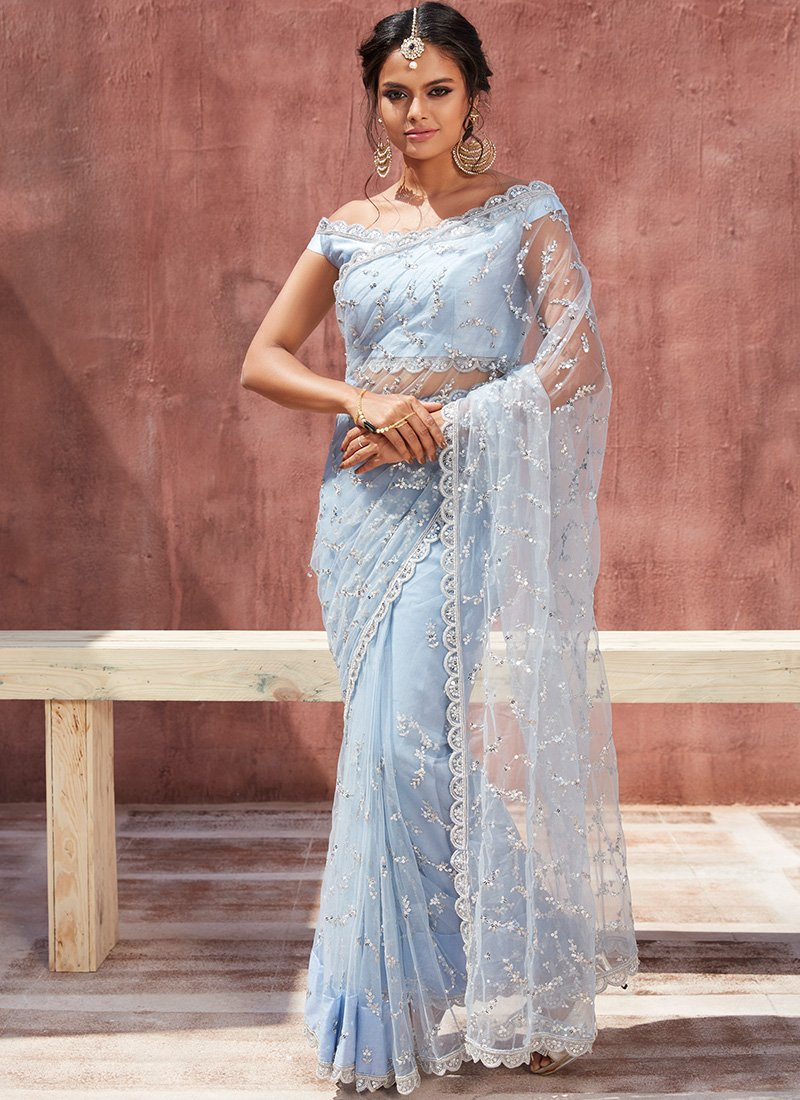 Light Grey Embroidered Partywear Saree