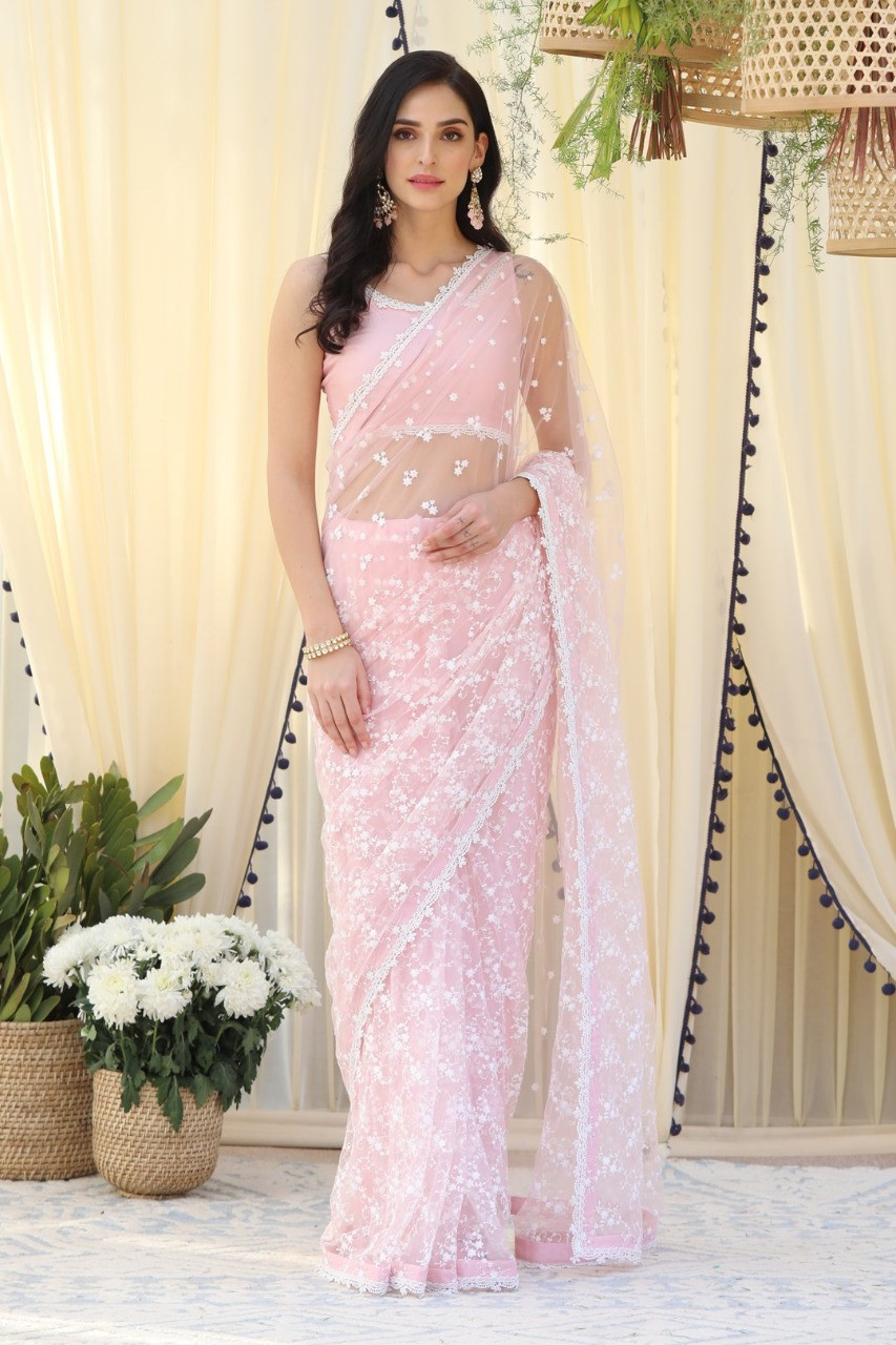 Light Pink Embroidered Partywear Saree