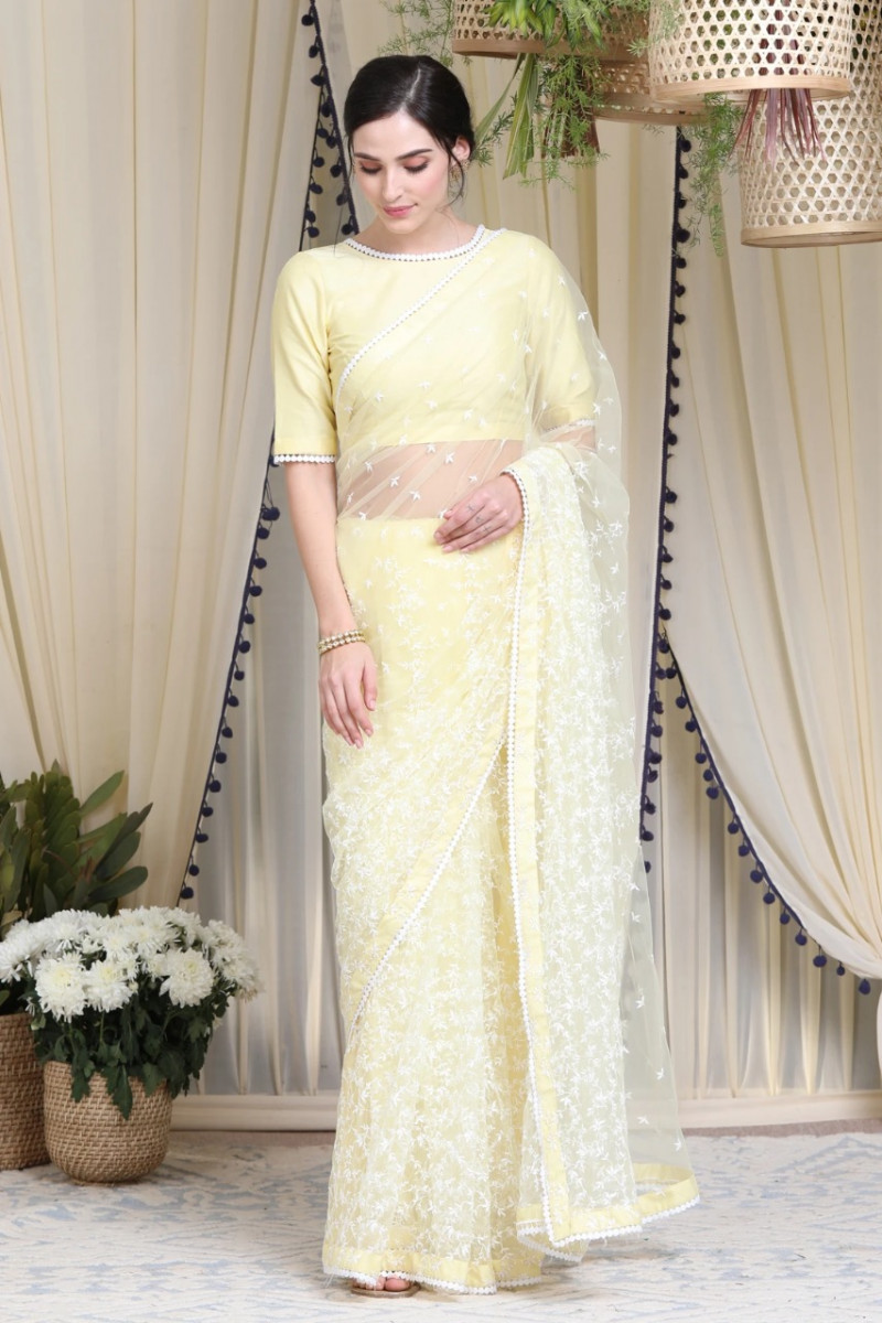 Lemon Yellow Embroidered Designer Saree