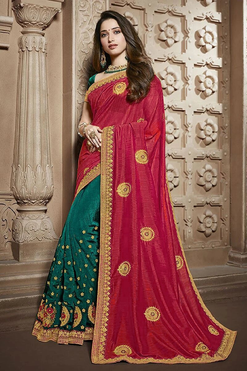 Red Wedding Wear Embroidered Silk Saree