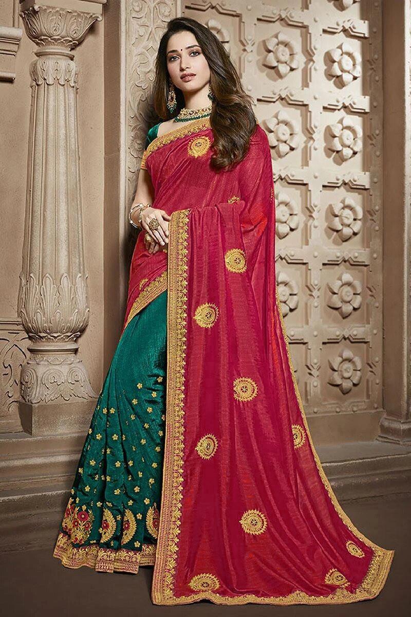 Red Wedding Wear Embroidered Silk Saree
