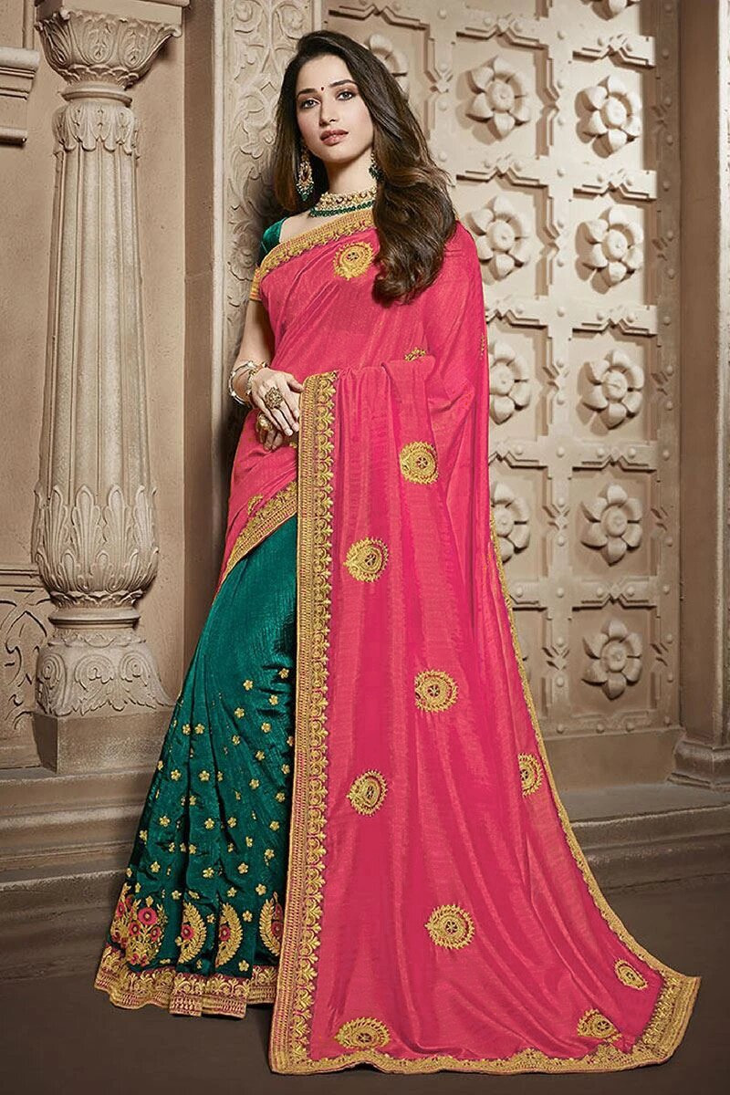 Pink-Green Embroidered Silk Saree