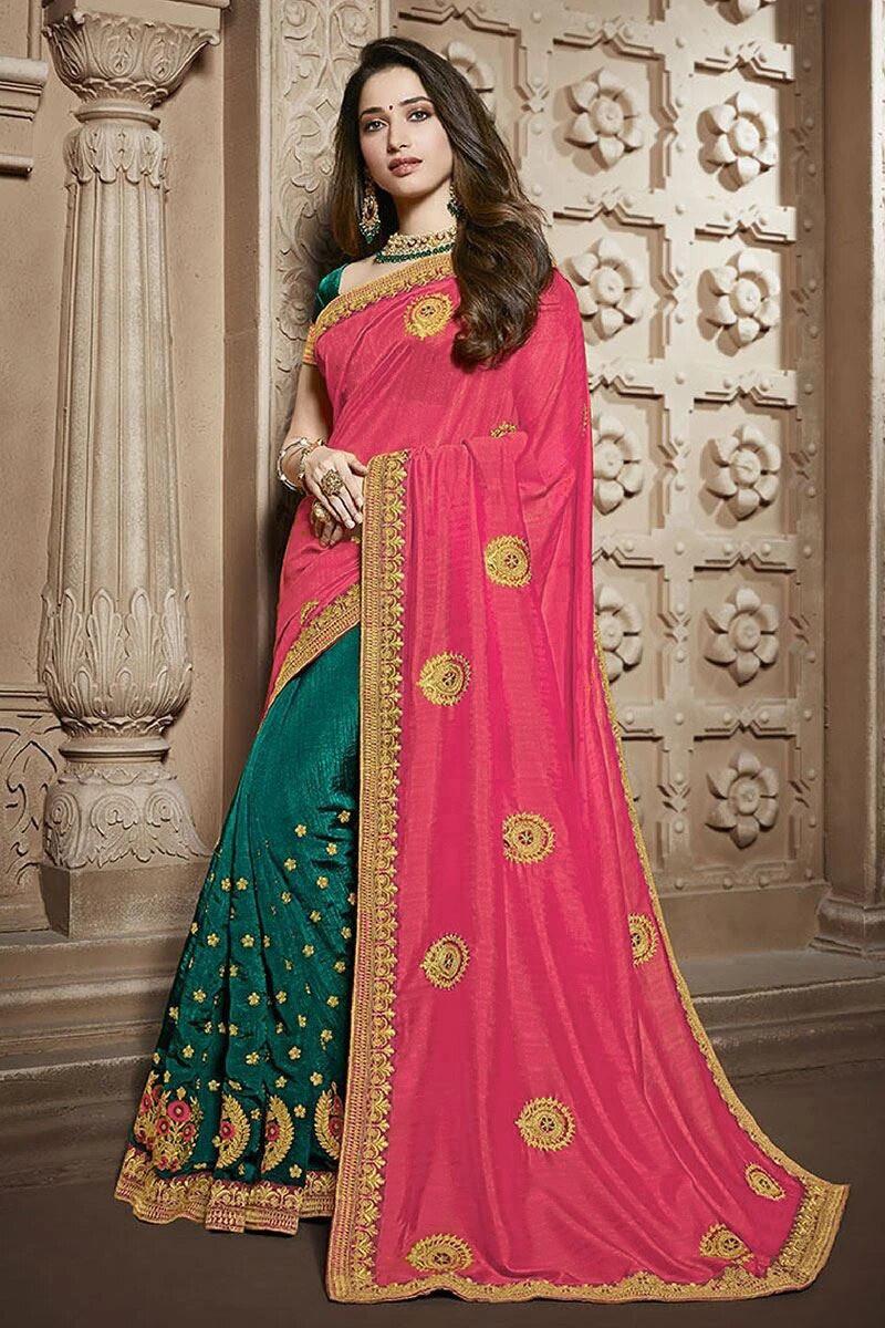 Pink-Green Embroidered Silk Saree