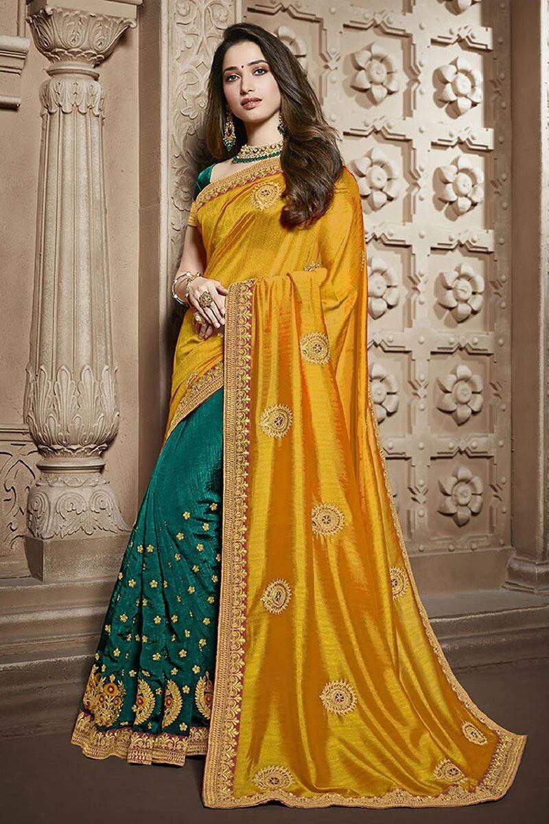 Bright Yellow Embroidered Silk Saree