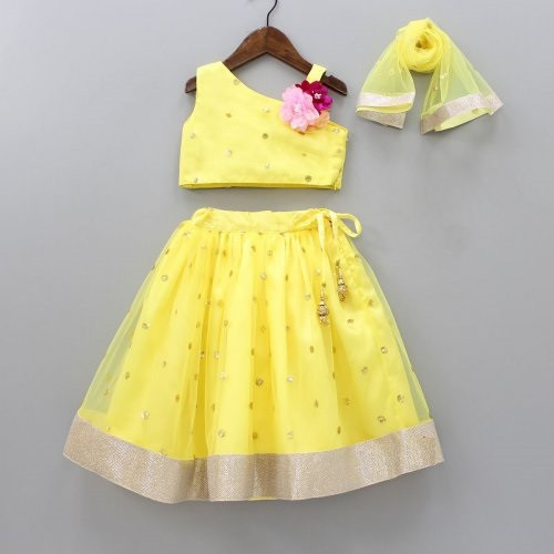 Lemon Yellow Kids Wear Lehenga Choli Set