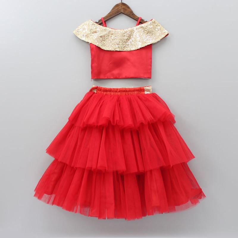 Kids Wear Red Net Ruffle Lehenga Choli